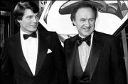 "Actor Christopher Reeve, left, and co-star Gene Hackman arrive at the premiere of their movie ""Superman"" in Los Angeles in this Dec. 15, 1978, file photo. Reeve, the star of the ""Superman"" movies, continued acting after his 1995 horse-riding accident that paralyzed him."