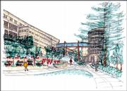 Another rendering of Kansas University's plan for Wescoe Hall shows the structure of the walkway on the south side.