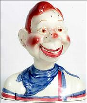 This bust of Howdy Doody, the TV star, is really a ceramic bank. It was made in the 1950s, and a collector bought it at a recent Hake's Americana Auction in York, Pa., for $345.