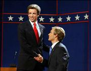 "NBC&squot;s ""Saturday Night Live"" will air its own presidential debate Monday featuring Seth Meyers, left, as Sen. John Kerry and Will Forte as President George W. Bush, pictured in this undated promotional photo. The program, called ""Saturday Night Live&squot;s Presidential Bash 2004: The Great Debates,"" also will include several of the comedy show&squot;s satirical presidential debates from previous elections."