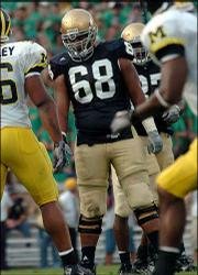 Notre Dame offensive tackle Ryan Harris gets ready to line up for a play against Michigan earlier this season in South Bend, Ind. Like many students at Notre Dame, Harris finds time every day to pray. Unlike most of his classmates, though, Harris is Muslim.