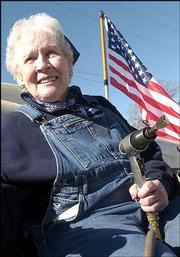 Gladys Kiefer, Ottawa, was one of the women known as Rosie the Riveter during World War II when she worked in an airplane factory in Washington state. Kiefer rode the Ottawa Elks Lodge No. 803 parade float Saturday during Ottawa's Veterans parade.
