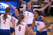 Kansas University volleyball players, from left, Ashley Michaels, Andi Rozum, Paula Caten, Emily Brown and Josi Lima celebrate a kill against Baylor.