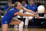 Kansas University senior libero Jill Dorsey makes a dig against Baylor. Dorsey and the Jayhawks swept the Bears, 3-0, Wednesday night at Horejsi Center.