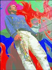 """""""Regime Change,"""" spraypaint stencil, by Lawrence artist Dave Loewenstein"""