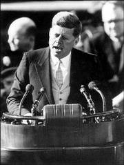 John F. Kennedy delivers his inaugural address after taking the oath of office at the Capitol in Washington in 1961.