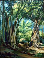 """Enchanted Forest,"" a painting by Lawrence artist Jewell Willhite, is among the pieces to be auctioned at the Douglas County AIDS Project&squot;s 2004 Red Ribbon Art Auction. The auction, which raises money for the Lawrence social service agency, will be Sunday at Maceli&squot;s, 1031 N.H."