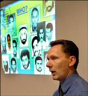 Patrick Chagnon, a Connecticut State Police detective and national counterterrorism instructor, speaks to security, rescue and police personnel in Manchester, Conn. He recently gave a training class on how to spot a suicide bomber at a mall.