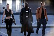 "From left, Jessica Biel, Wesley Snipes and Ryan Reynolds star in New Line Cinema's action-adventure, ""Blade: Trinity."""