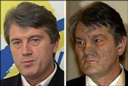 The picture combo shows Viktor Yushchenko in file photos dated March 28, 2002, left, and Dec. 6, 2004. The Ukrainian opposition leader was poisoned with dioxin, doctors said Saturday.