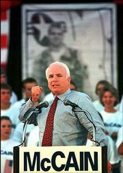 Then-Republican presidential hopeful Sen. John McCain addresses a campaign rally in Tempe, Ariz., in this Sept. 30, 1999 file photo. McCain's popularity with both parties and his high-profile stances on issues such as steroid abuse in Major League Baseball make him fit for another bid for the presidency, Republican supporters say.
