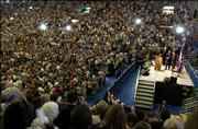 An audience of 12,000 people packed Allen Fieldhouse in May to hear former President Bill Clinton give the inaugural Dole lecture for Kansas University's Dole Institute of Politics.