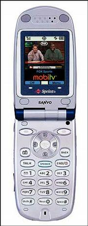 A MobiTV version of Fox sports is displayed on a Sprint cell phone.