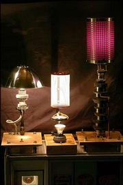 Cunningham has built several lamps from miscellaneous car parts.