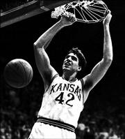 "Kansas University center Mark Randall scores on one of many breakaway dunks during a game against Kentucky. The Jayhawks beat the Wildcats, 150-95, on Dec. 9, 1989 at Allen Fieldhouse, scoring the most points in KU history.<br> <a href= ""http://etc.lawrence.com/galleries/kuky1989/6924_lores.html"" target=""_new"" onclick= ""window.open('http://etc.lawrence.com/galleries/kuky1989/6924_lores.html','Photo','height=650,width=550,screenX=10,screenY=10,' + 'scrollbars,resizable'); return false;""> <img src=""http://www.ljworld.com/art/icons/icon_photo.gif"" border= ""0"" alt=""photo""> Photo Gallery: KU vs. Kentucky: Dec. 9, 1989</a><br>"