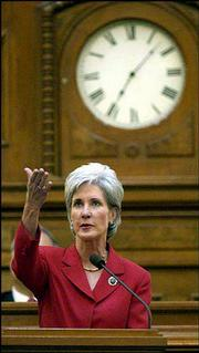 Gov. Kathleen Sebelius used Monday's State of the State address to emphasize the need to improve health care coverage and school financing if the state wants to continue economic growth.