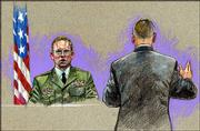 In a courtroom artist's drawing, U.S. Army Spc. Charles Graner Jr., left, answers questions during the punishment phase in his court-martial Saturday at Fort Hood, Texas. He was sentenced to 10 years for his role in the Abu Ghraib prison scandal.