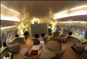 This is an interior view of Airbus Industries A380 superjumbo passenger jet's forward upper-deck cabin.