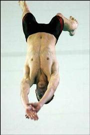 Lawrence High&#39;s Chaz Steele executes a dive. The Lions placed third