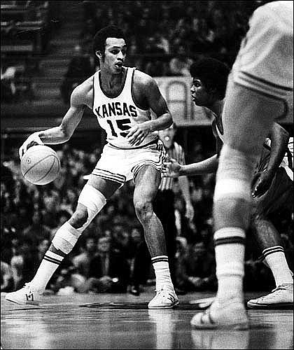 Former Kansas University standout Bud Stallworth (15) is seen during his playing days. Stallworth, who played for the Jayhawks in 1970-72, will have his jersey raised to the rafters during halftime of tonight's KU-Missouri game at Allen Fieldhouse.