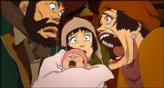 "Three Homeless friends -- a girl, a transvestite and a middle-aged man -- find a baby in ""Tokyo Godfathers."""