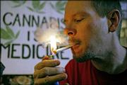 Bill Britt, director of the Association of Patient Advocates who suffers from epilepsy and post-polio complications, uses cannabis to help ease his chronic pain in Long Beach, Calif. California's Mendocino County is moving toward a new agriculture frontier with a proposal to certify medical marijuana as organic. County officials say that with no system to regulate cultivation consumers similar to Britt are at risk.