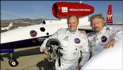 Steve Fossett, pilot of the GlobalFlyer, and Richard Branson, the Virgin Atlantic founder who funded the plane, are behind the around-the-world flight scheduled to take off from Salina. They were photographed in January 2004 in Mojave, Calif.