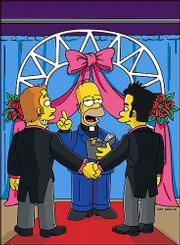 "Homer Simpson, center, performs a marriage in this scene from ""The Simpsons"" animated episode ""There Is Something About Marrying."" The show, which aired Sunday, revealed that Marge Simpson&squot;s sister Patty is a lesbian."