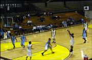 A sparse crowd watches the Knights play the Colorado Storm on Thursday in Overland Park.