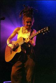 Ani DiFranco brought her DIY singer-songwriting style to Liberty Hall Wednesday evening and delivered a less-than-inspirational performance. She is pictured, at left, during a previous show at another venue.