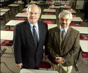 Robert Harrington, professor in the psychology and research in education department at Kansas University, and Rand Ziegler, associate dean for faculty at Baker University, were judges for the 2005 Journal-World Academic All-Stars selection. Also a judge, but not pictured, was Stanley Lombardo, KU professor of classics and director of the KU Honors Program.