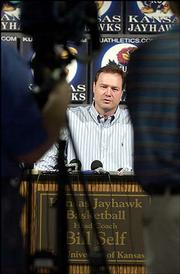 Kansas University men's basketball coach Bill Self speaks at his weekly news conference a day after the Jayhawks beat Oklahoma State for sole possession of first place in the Big 12 Conference. Self spoke Monday in Hadl Auditorium.