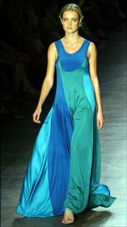 A marine, clover and teal silk jersey tank dress at the Calvin Klein spring fashion show.