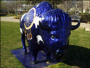 "A ""Spirit of the Buffalo"" sculpture adorns the sidewalk near the Myriad Botanical Gardens in Oklahoma City. Buffaloes are seemingly everywhere in Oklahoma City, where tonight the Kansas men&squot;s basketball team opens its NCAA journey against the Bucknell Bison."