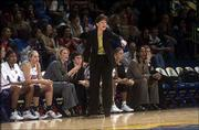 Bonnie Henrickson makes a point during a 58-41 victory over Western Illinois on Dec. 8 at Allen Fieldhouse. Henrickson was a graduate assistant at Western Illinois in 1988.