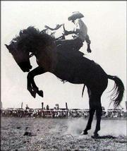 "An old photo of cowboy Dan Matile winning the saddle bronc competition in a rodeo. ""The trick,"" he was fond of saying, ""is not to fall off your horse.""<br> <a href= ""http://etc.lawrence.com/galleries/DanMatile/8531_lores.html"" target=""_new"" onclick= ""window.open(&squot;http://etc.lawrence.com/galleries/DanMatile/8531_lores.html&squot;,&squot;Photo&squot;,&squot;height=650,width=550,screenX=10,screenY=10,&squot; + &squot;scrollbars,resizable&squot;); return false;""> <img src=""http://www.ljworld.com/art/icons/icon_photo.gif"" border= ""0"" alt=""photo""> Photo Gallery: Cowboy Dan Matile</a><br>"