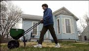 Jean Rolfs, Lawrence, spreads fertilizer and weed killer on her front yard. Springtime hits homeowners in the pocketbook as they splurge to transform their yards from a dull brown to a bright green. Rolfs worked in her yard Wednesday.