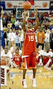 Kansas University basketball signee Mario Chalmers competes during the Three-Point Shootout. Chalmers won the competition Monday night in South Bend, Ind., during some of the festivities for the 2005 McDonald's All-American Game.