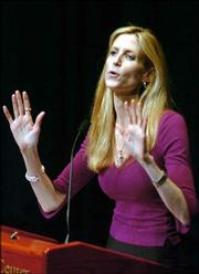 Ann Coulter speaks to a nearly full house at the Lied Center in Lawrence in this March 2005 file photo. Coulter's latest attack on Democratic presidential candidate John Edwards is spurring financial contributions from his supporters.