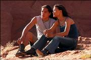 """Eddie Spears, left, plays Black Cloud, and Julia Jones portrays Sammi in """"Black Cloud."""""""