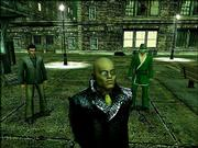 "The character Morpheus, front, played by Laurence Fishburne in the series of futuristic ""Matrix"" movies, remains prominent in the video game ""The Matrix Online."""