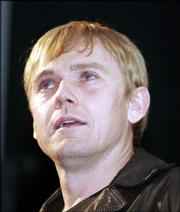 "Director Rick Schroder tears up after showing his film ""Black Cloud"" at Liberty Hall."