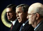 "After receiving a presidential committee&squot;s report on U.S. spy efforts, President Bush promised ""concrete action"" on the panel&squot;s 74 recommendations, many of which can be implemented without congressional approval. ""To win the war on terror, we will correct what needs to be fixed,"" he said. He was joined Thursday in Washington, D.C., by Sen. Chuck Robb, D-Va., left, and Judge Laurence Silberman, who are co-chairman of the commission."