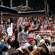 "Michigan State guard Earvin ""Magic"" Johnson cuts down the nets after winning the NCAA title in this photo from March 26, 1979, in Salt Lake City -- one of 49 Final Fours covered by Lawrence photographer Rich Clarkson.<br> <a href= ""http://www2.kusports.com/photos/galleries/2005/mar/30/clarksons_ku_basketball/""> <img src=""http://www.ljworld.com/art/icons/icon_photo.gif"" border= ""0"" alt=""photo""> Photo Gallery: Rich Clarkson&squot;s KU Basketball</a><br> <a href= ""http://www2.kusports.com/photos/galleries/2005/mar/30/richard_clarksons_ncaa/""> <img src=""http://www.ljworld.com/art/icons/icon_photo.gif"" border= ""0"" alt=""photo""> Photo Gallery: Richard Clarkson&squot;s NCAA</a><br>"