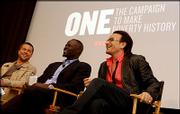 Actors Brad Pitt, left, and Djimon Hounsou are joining singer Bono, right, for ONE--The Campaign to Make Poverty History.