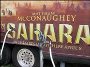 "Matthew McConaughey&squot;s trailer and traveling Billboard refuels at a Platte City RV park. The actor/producer of ""Sahara"" came through Kansas City during a trek to promote the film."