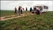 A tour group visits the Tallgrass Prairie National Preserve in the Flint Hills.
