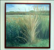 """Late Autumn: Prairie Grass with Asters,"" is on view through May 28 in ""Signs and Seasons,"" an exhibition of new paintings by Signs of Life Gallery director James Schaefer.<br> <a href= ""http://www.ljworld.com/multimedia/audio/2005/04-17-05_schaefer1.html"" target=""_new"" onclick= ""window.open('http://www.ljworld.com/multimedia/audio/2005/04-17-05_schaefer1.html','Photo','height=200,width=400,screenX=10,screenY=10,' + 'scrollbars,resizable'); return false;""> <img src=""http://www.ljworld.com/art/icons/icon_audio.gif"" border= ""0"" alt=""photo""> Audio: James Schaefer on ""Late Autumn: Prairie Grass with Asters""</a><br>"