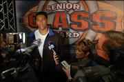 Former Kansas University basketball player Wayne Simien speaks to the media about his Senior CLASS award. Simien was honored Saturday night at Crown Center in Kansas City, Mo.