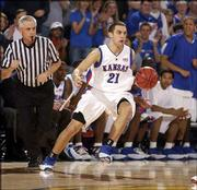 Former Kansas player Nick Bahe (21), seen in this file photo from the Jayhawks' game against Iowa State on Feb. 19 at Allen Fieldhouse, has left KU and transferred to Creighton.